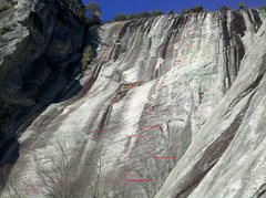 Rock Climbing Photo: This topo shows 4 different routes.  The Funky Chi...
