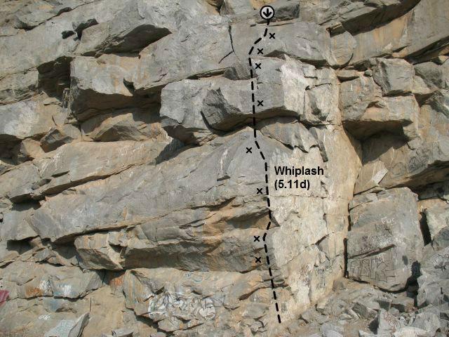 Whiplash (5.11d), Riverside Quarry