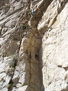 Rock Climbing Photo: Aaron and Sam at top of 2nd pitch.John at chains f...