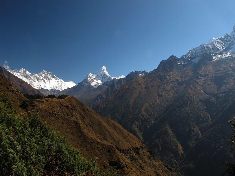 View of Everest, Lhotse, Ama Dablam from l. to r.