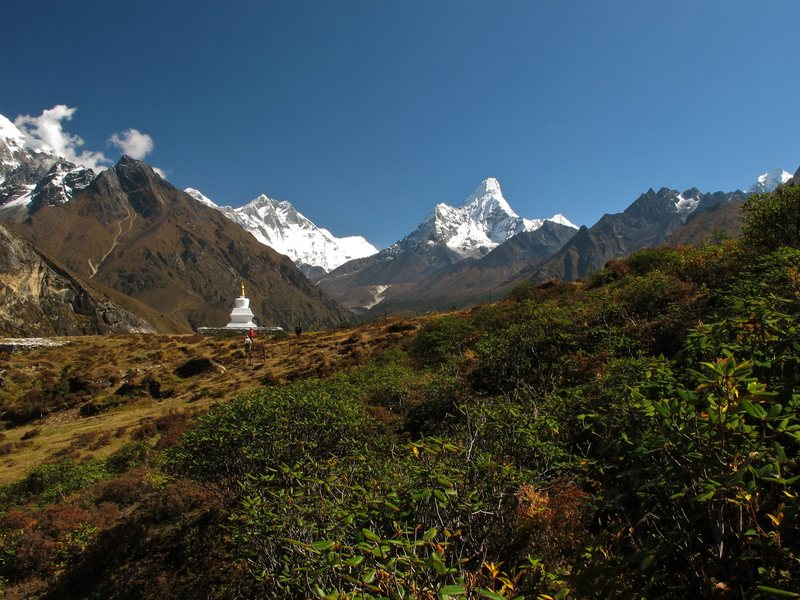 Sir Edmund Hillary Chorten at Khumjung with Ama Dablam in the background