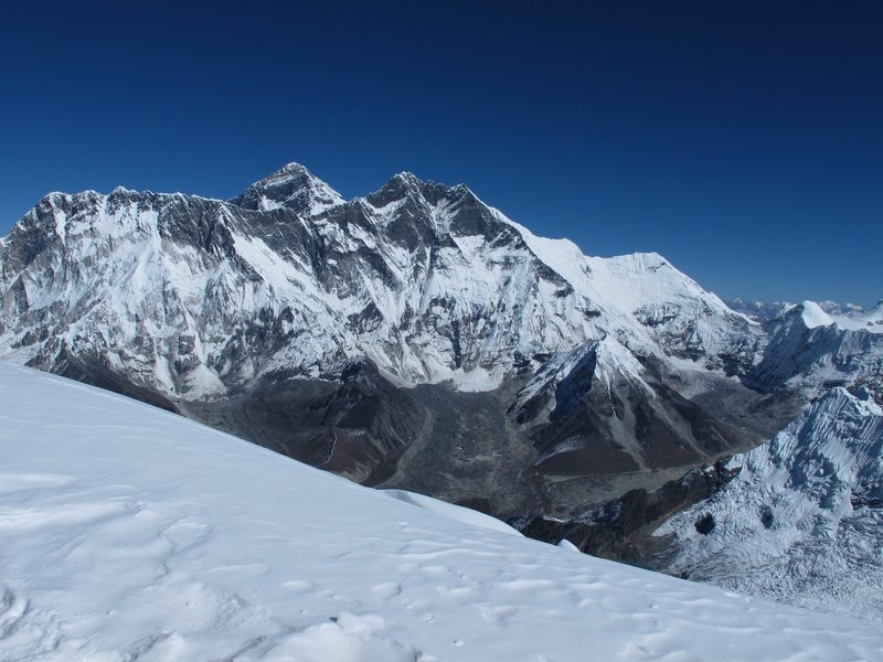View from the summit of Ama Dablam looking at Everest and Lhotse to the north, 10:00am, Oct 25, 2011
