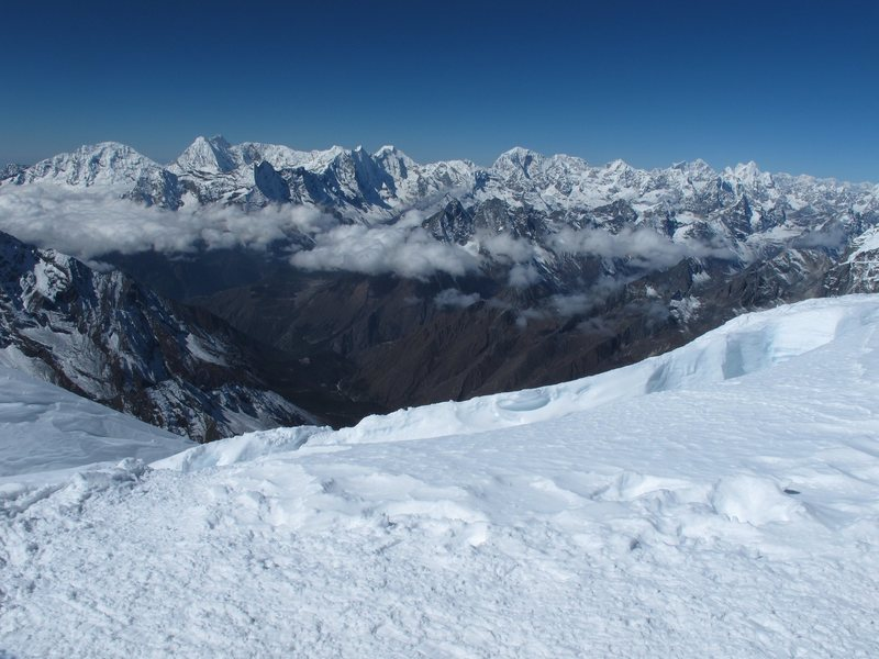 View from summit of Ama Dablam looking SW