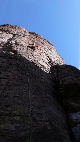 Rock Climbing Photo: Arjun prepping to gun through the crux on the FA.