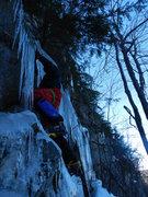 Rock Climbing Photo: JG following on the FA