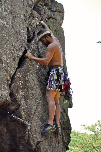 Fortress Wall<br> <br> Same start<br> Fortress Fingers(5.10)/Finger Crack(5.8) trad<br> <br> Crowders Mountain State Park, North Carolina<br> <br>