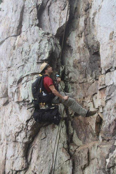 Practice Wall <br> <br> Gastonia Crack rappel.<br> <br> Crowders Mountain State Park, North Carolina