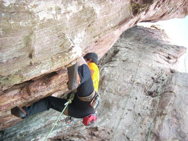 Trundlasarus Wall<br> <br> Dewey Used to Love It (5.10)<br> <br> Crowders Mountain State Park, North Carolina