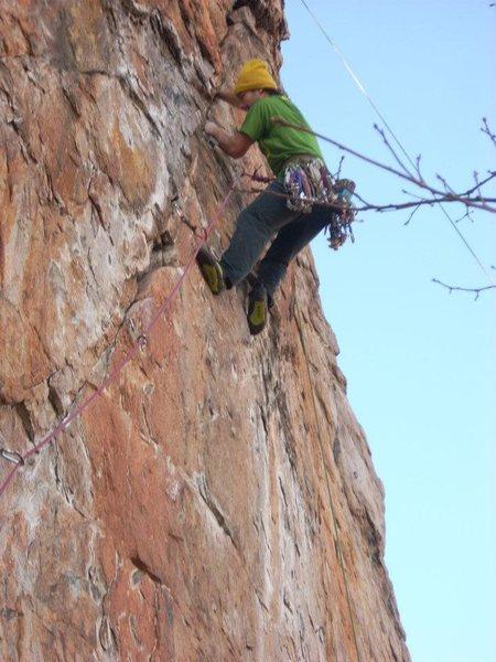Rock Climbing Photo: Red Wall  Axis (Bold As Love) (5.11+)  Crowders Mo...