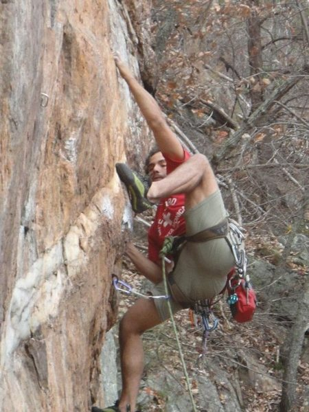 Red Wall<br> <br> Fashion Direct (5.12c)<br> <br> Crowders Mountain State Park, North Carolina