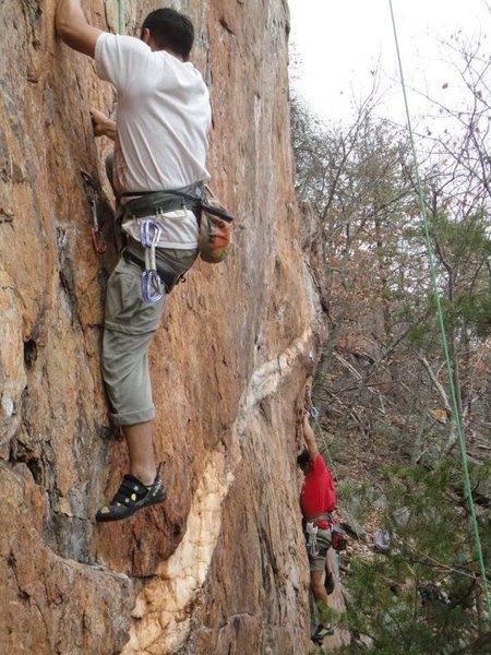 Red Wall<br> <br> Thumbdercling!<br> Fashion Direct (5.12c)<br> <br> Crowders Mountain State Park, North Carlina