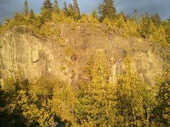 Rock Climbing Photo: Blue= step it up 11c Red=Don't be jenga 11+ Yellow...
