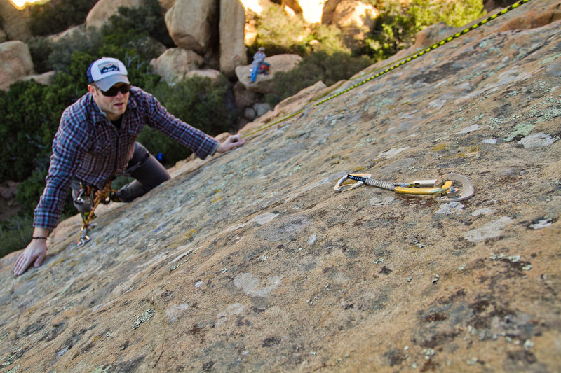 """James leading """"The Roof Route"""" and in the first crux section below the crack.  This is probably the best climb on the wall!"""