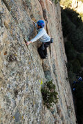 Rock Climbing Photo: Yvonne leads Route 3 on a slightly cool and slight...