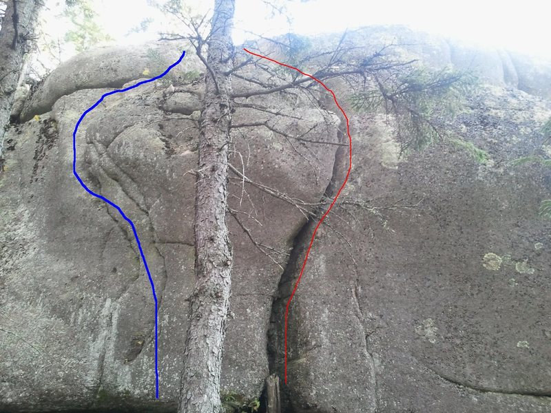Rock Climbing Photo: Blue= Tomorro'clock Red=My Three Friends