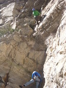 Rock Climbing Photo: Aaron belaying Sam from chains at top of Good Girl...