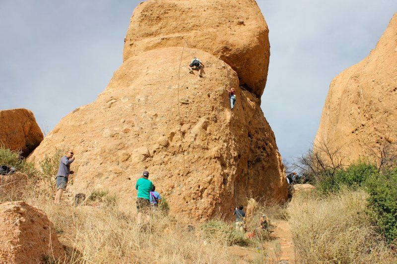 Rock Climbing Photo: Climbers on Boneyard (left) and The Green Mile (ri...