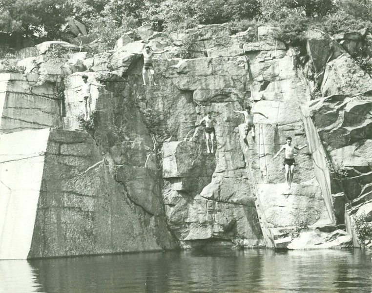 Rock Climbing Photo: Concord, NH Quarries 1967 Jump