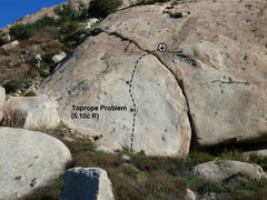 Rock Climbing Photo: Toprope Problem (5.10c R), Lake Perris SRA