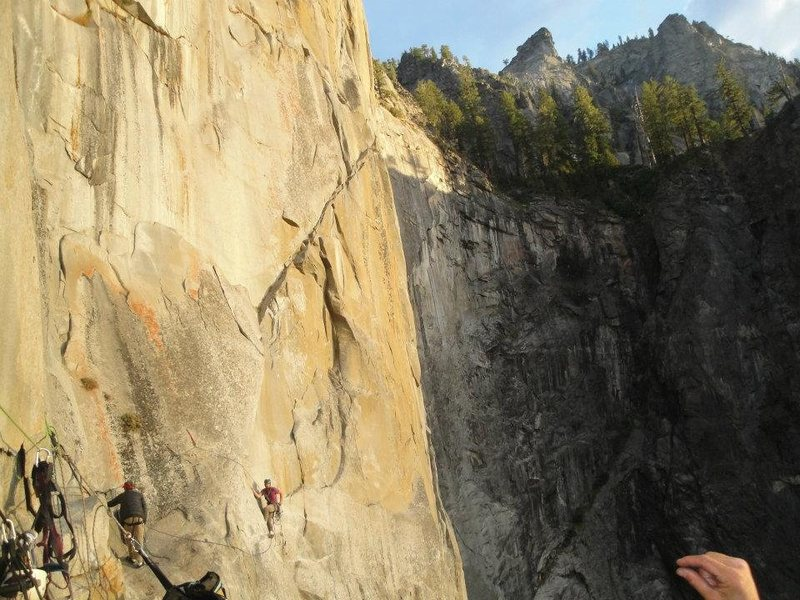 Me leading the C2 pitch off of Ahwahnee Ledge- West face of Leaning Tower, Yosemite