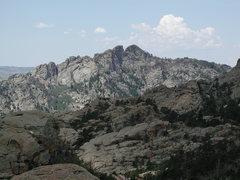 Rock Climbing Photo: Split Rock as seen from Reese Mtn.  It's gneiss an...