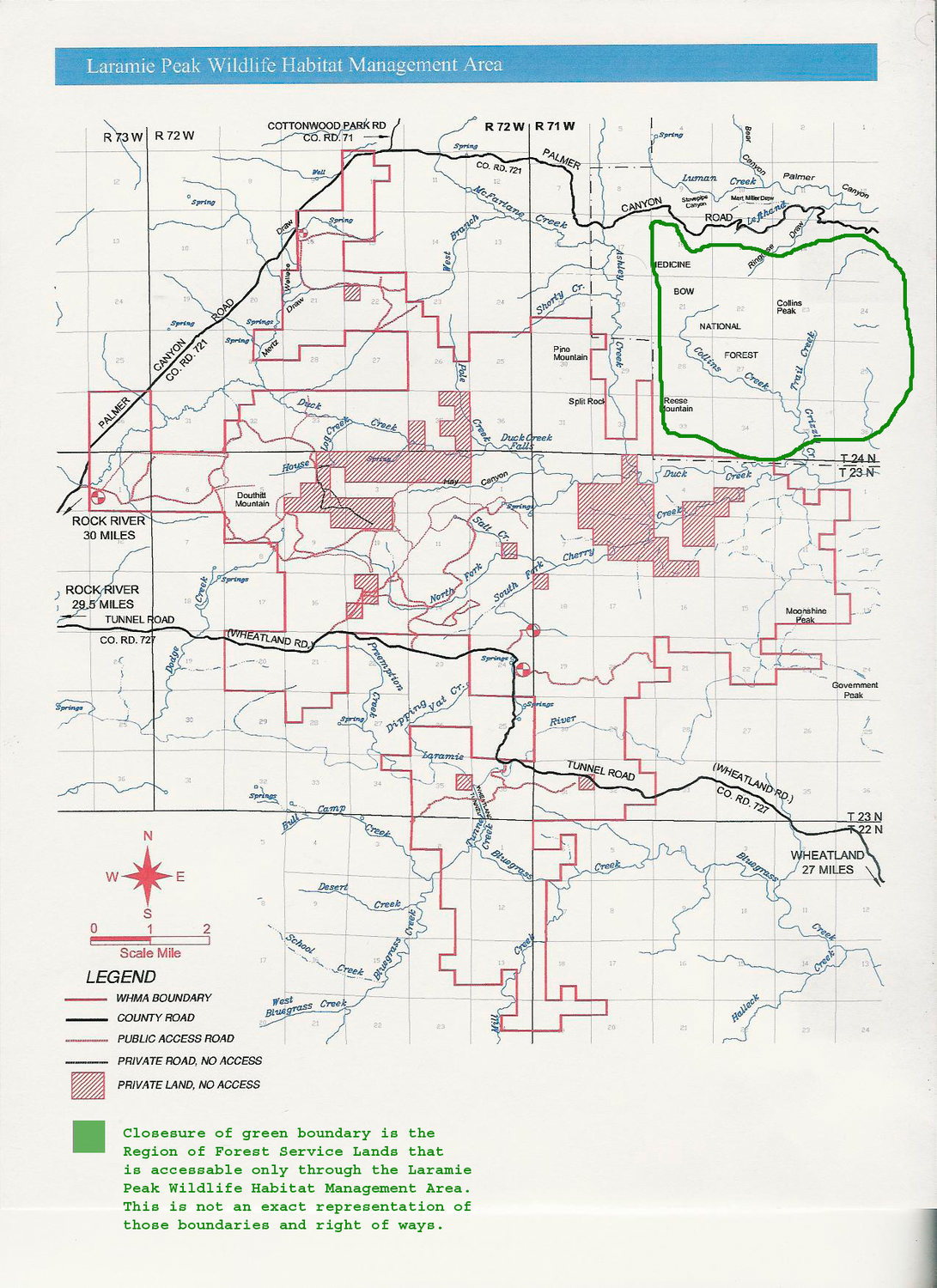 Game and Fish Map [modified] for Laramie Peak Wildlife Habitat Management Area. Note