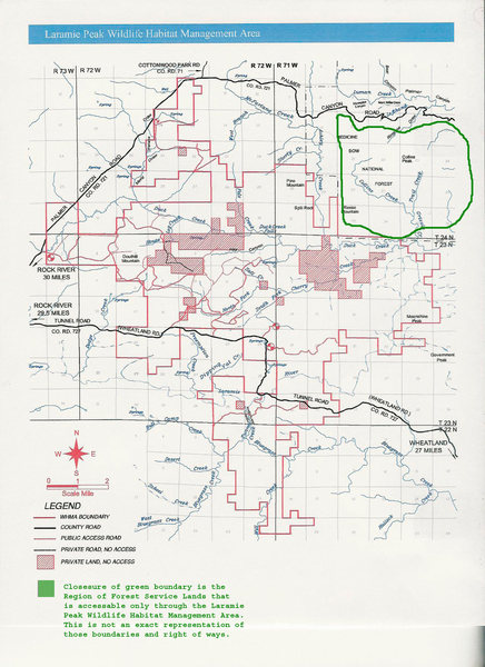 Game and Fish Map [modified] for Laramie Peak Wildlife Habitat Management Area.  Note private lands are in red.