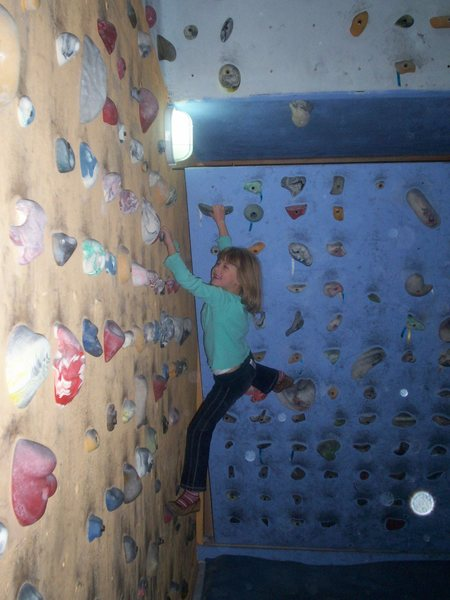 Alpin Lily, age 6, enjoying the bouldering gym on Carrer de Borrul in Valencia...