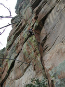 Rock Climbing Photo: Reese Mtn Douglas Park.  Freddie leads Aeolius 12b...