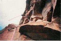 Rock Climbing Photo: Reese Mtn Hightower McGee leads Plumbago 1 st asce...