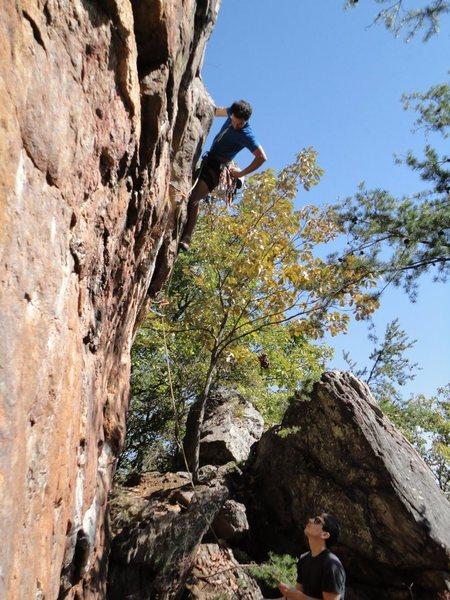 Rawlhide Wall<br> <br> Arborcide(5.9) Trad<br> <br> Crowders Mountain State Park, North Carolina