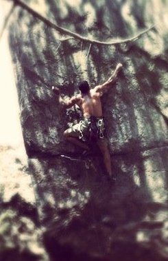 Middle Finger Backside<br> <br> Prick-A-Digi Ow!(5.11b/c)<br> <br> Crowders Mountain State Park, North Carolina