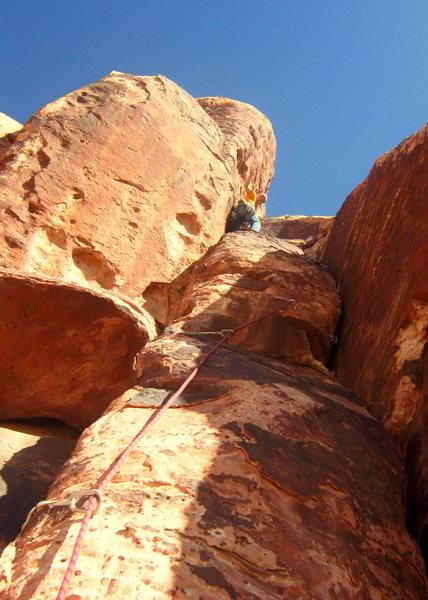 Rock Climbing Photo: Pitch 1 crux.