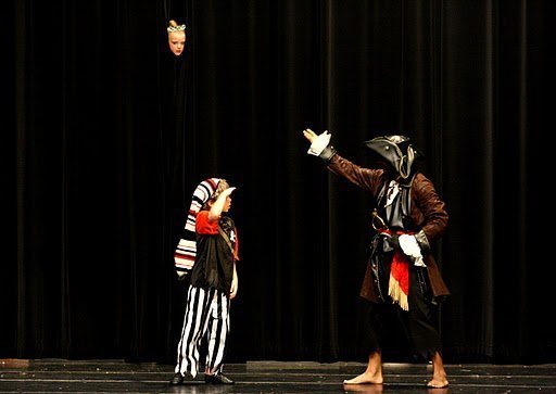Playing Captain Hook in a children's production of Peter Pan