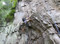 Rock Climbing Photo: Davids Castle Backside   Overhang Direct(5.8) Trad...