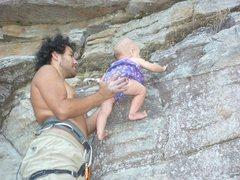 Rock Climbing Photo: Ava climbing at Pilot Mountain, North Carolina.