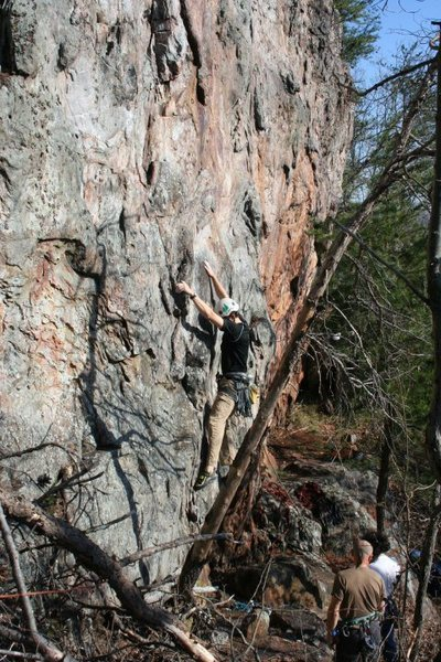 Rawlhide Wall<br> <br> Ian Balman leading<br> Cro-Magnon and Bullwinkle (5.8)<br> <br> Crowders Mountain State Park, North Carolina
