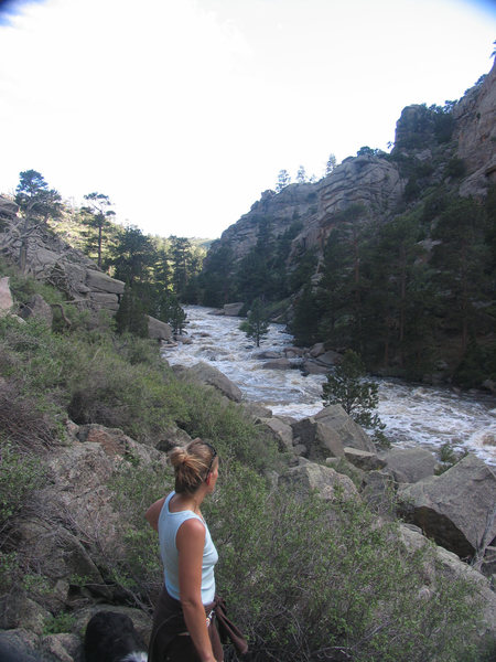 Rock Climbing Photo: High water in Laramie River Canyon 2010 perhaps 34...