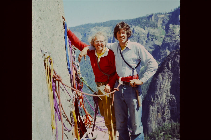 El Cap Tower in June &#39;75.  Swami belt and Levis!<br> <br> With the late Floyd &#39;Tex&#39; Bossier.