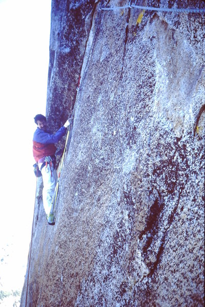 The old A5 pitch on the West Face of Sentinel Rock - Yosemite, '95 ?<br> <br> Small TCU's make it easy.