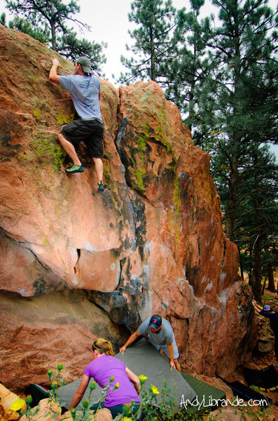 Rock Climbing Photo: Andrew combining the traverse into the undercling ...
