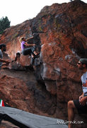 Rock Climbing Photo: Caitlin getting into the crux on this problem. Nic...