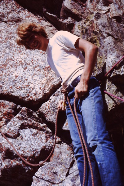 1969 Just out of high school - learning to climb.  <br> <br> What's funny about this picture and the hip belay is that Yvon Chouinard is on the other end of the rope.<br> <br> Yeah, paid him $15.00 for a day of climbing and teaching.  Got the boat ride across Jenny's Lake as part of the deal.