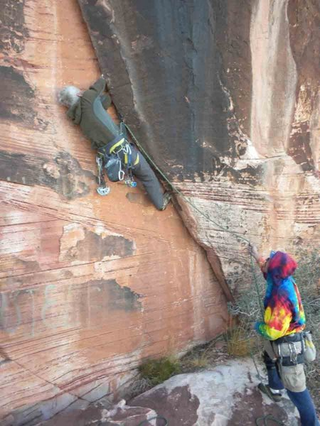 Rock Climbing Photo: Jim Donini on the start of 'Fist and Chips'. Above...