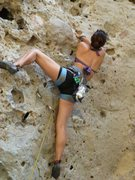 Rock Climbing Photo: Jackie Trejo crossing through, half way up Kathman...