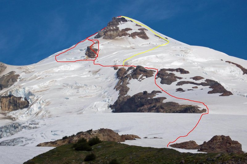 Boulder-Park Cleaver with upper variations in red. Yellow line is option to finish via Park Glacier Headwall.