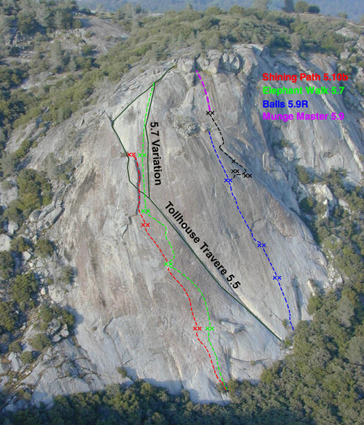 Topo of Tollhouse Rock with the route 'Balls' shown in Blue. A 4th pitch variation is shown in black.<br> <br> Original photo credit: Dave Daley, SummitPost.org<br> http://www.summitpost.org/an-aerial-shot-of-tollhouse/40792/c-151415