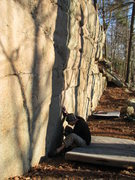 Rock Climbing Photo: Jake trying to figure out how to start Ballista. W...