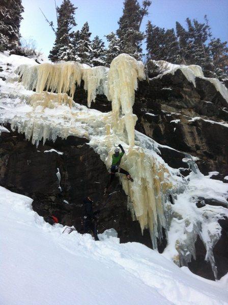 Rock Climbing Photo: Kurt Ross leading Crystal Meth on February 4th 201...
