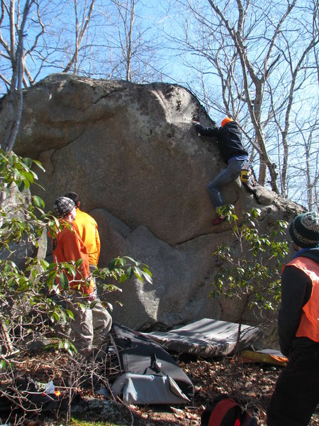 Dana showing us another of his finds, a collection of boulders near Blue Pond.